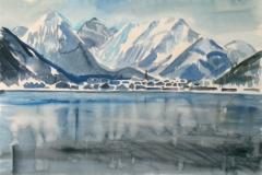 1641, Achensee, Aquarell, 57 x 39 cm