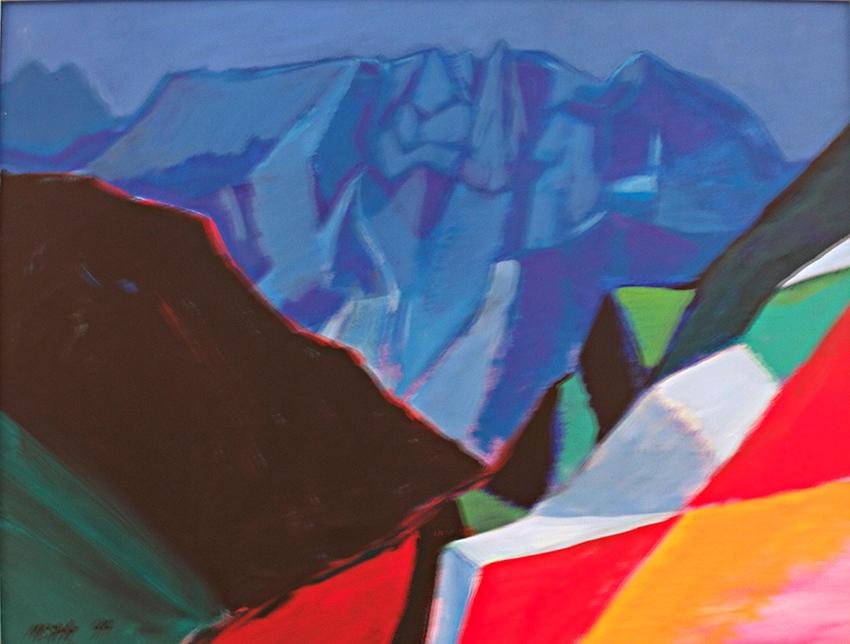 0063, Wilder Kaiser, Schlucht 1994, 83x63 cm, Acryl / Leinwand