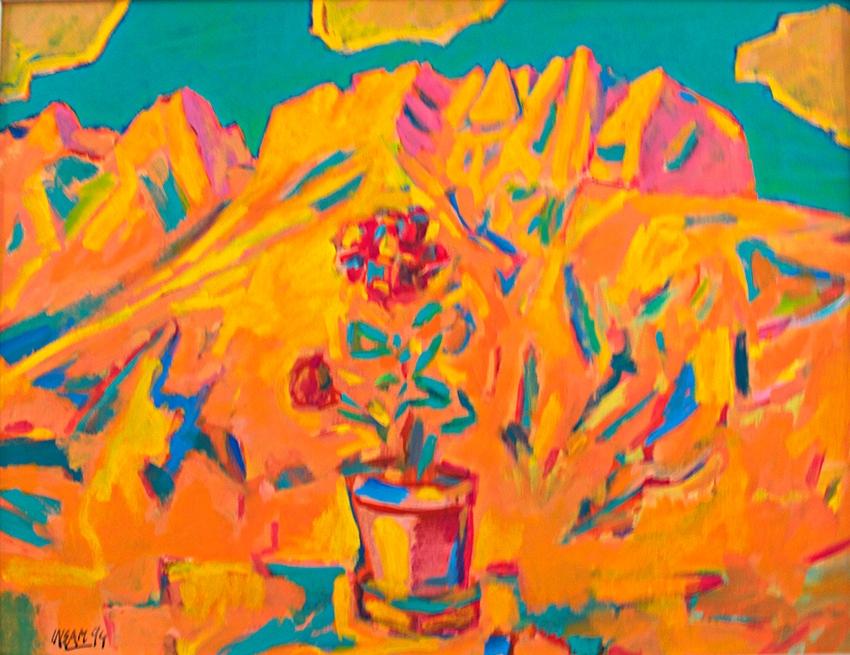 0072, Belagonie mit Gebirge, 1994, 62x82 cm, Acryl / Leinwand