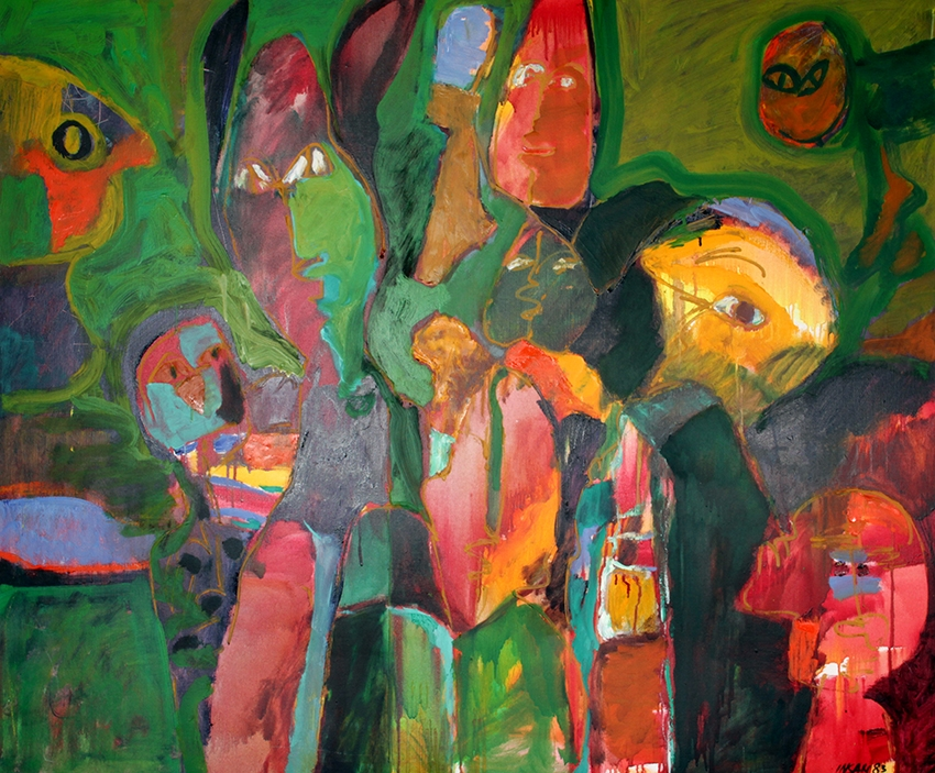 0363, Galeriebesucher, 1983, April, 140,5x116 cm, Öl / Leinwand