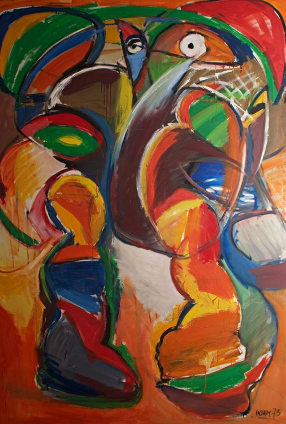 0767, Zwei tanzende Figuren, 125x180 cm, Acryl / Leinwand
