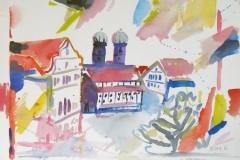 810, München, Frauenkirche, 1984, Aquarell, 57 x 39 cm