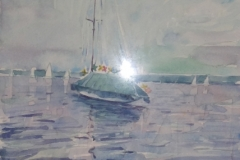 825, Starnbergersee, Aquarell, 1985, 26x22 cm