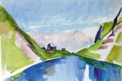 1469, Wildseeloderhütte mit See, Aquarell, 39,5 x 30 cm