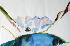 1470, Wildseeloderhütte mit See, Aquarell, 39,5 x 30 cm