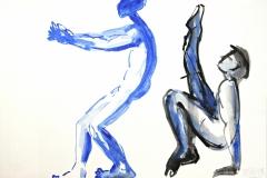 12122, Körperübungen, Aquarell/Papier, 1994, 38x53,5 cm