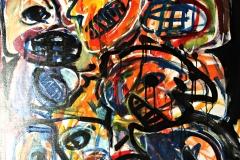 0131, Clowns, 1983, 100x125 cm, Acryl / Leinwand
