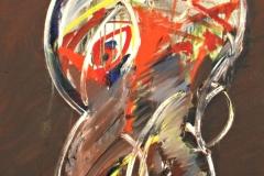 0162, Auge mit altem Holzrahmen, 1973, 55x89 cm, Acryl / Leinwand