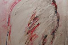0175, Figur Frau Rot, 1973, 84x102 cm, Acryl / Hartfaserplatte