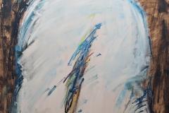 0176, Figur Mann Blau, 1973, 84x102 cm, Acryl / Hartfaserplatte