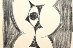 12000, Figur, Ölkreide/Papier, 1973, 44x34 cm