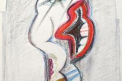 15166, der Kritiker in der Galerie, Augen Figur, Wachskreiden/Papier, 1972, 61x43 cm