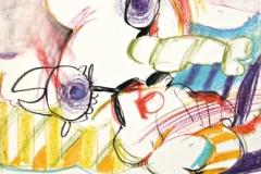15261, Sonntag auf der Hummervogelinsel, Wachskreiden/Papier, 1971, 60x44 cm