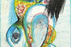 15470, Augen Figur, Wachskreiden/Papier, 1970, 61x43 cm