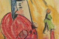 7206, Musikant, 1950, Kreide / Papier, 29,5x21 cm