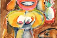 12408, eine sehr Schöne, Aquarell/Papier, 1974, 62x48 cm