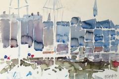 609, Honfleur, 1989, Aquarell, 34 x 24 cm
