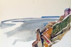 613, Atlantikküste, 1989, Aquarell, 61 x 47 cm