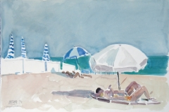 680, Cannes, Am Strand, 1994, Aquarell, 56 x 38 cm