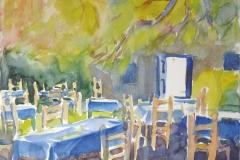 2005, Paros, Gastgarten, Aquarell, 40 x 30 cm