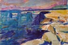 2023, Hafen von Prios-Paros, 1985, Aquarell, 38x56 cm