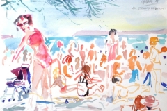 2030, Am Strand bei Prios, 1985, Aquarell, 33x47 cm
