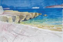 2047, Paros, Drios, 1986, Aquarell, 62 x 45 cm