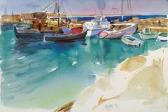 2064, Patmos, Boote, 1985, Aquarell, 57 x 38,5 cm