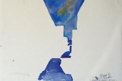 2097, Gasse in Chora, Patmos, 1987, Aquarell, 56 x 38,5 cm