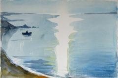 2106, Drios, Morgenstimmung, 1985, Aquarell, 56,5 x 37,5 cm