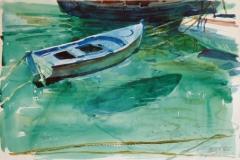 2110, An der Mole, 1985, Aquarell, 56,5 x 38 cm