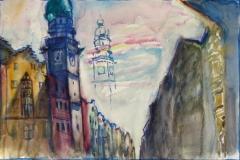 1425, Innsbruck, Stadtturm, Aquarell, 56,5 x 38 cm