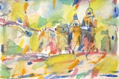 9040, Innsbruck im Frühling, 1997, Aquarell/Papier, 28,5x39 cm