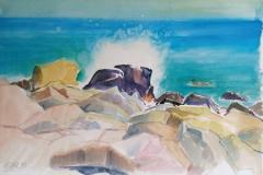 2038, Sizilien, Gischt, 1992, Aquarell, 56,5 x 38 cm