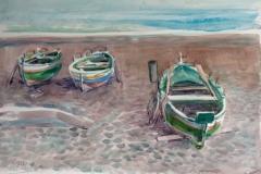 2043, Fischerboot, Lettoiano, 1992, Aquarell, 56 x 38 cm