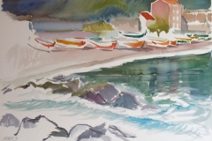 2050, Strand bei Lettoiano, 1992, Aquarell, 56 x 38,5 cm