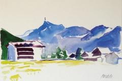 1222, Kirchberg, Kitzbüheler Horn, Aquarell, 34 x 24 cm