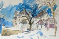 1033, Schloss Kaps, 1984, Aquarell, 40 x 30 cm