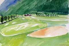 1261, Golfplatz Eichenheim, 2002, Aquarell, 48 x 36 cm