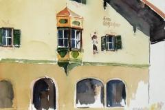 1440, Kitzbühel, Hausfassade, Aquarell, 38 x 28 cm