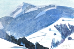7439, Winterlandschaft, Aquarell / Papier, 13,5x18,5 cm