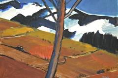 7657, Baum vor Gebirge, Aquarell / Acryl / Papier, 28x37,5 cm