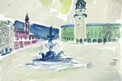 7499, Salzburg Glockenspiel, 1984, Aquarell / Papier, 28x35 cm