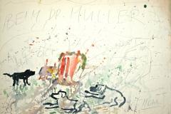 7531, Beim Dr. Müller auf der Pack mit 3 Hunden, Aquarell / Papier, 57x78 cm