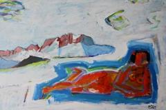 0016, Badenixe vor Kaiser, 103x73 cm, Acryl / Hartfaserplatte
