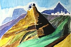 0020, Griechenland Berge, 100x80 cm, Acryl / Hartfaserplatte