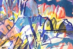 0033, Variationen zum Kaisergebirge, 1993, 80x60 cm, Acryl / Leinwand