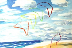 0039, Drachensteigen am Meer, 1991, 80x60 cm, Acryl / Leinwand
