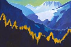 0057, Berge, 1988, 50x40 cm, Acryl / Leinwand
