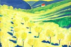 0069, Weinberg bei Neustift, 1995, 58x48 cm, Acryl / Leinwand